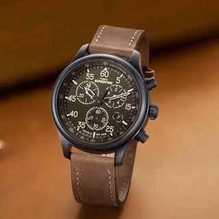 TIMEX 天美时大表盘石英三眼计时男士腕表