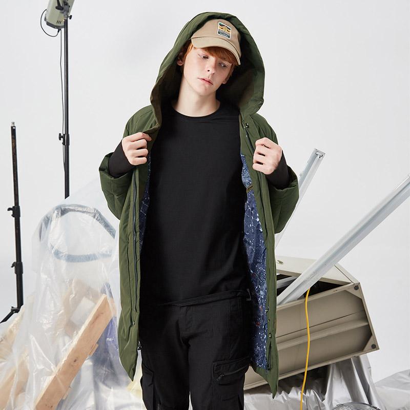 UO男士2018新款加厚中长款连帽羽绒服军绿鸭绒防风羽绒外套冬季