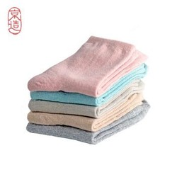 京造 5双装中筒袜女袜 女士吸汗透气休闲棉袜 马卡龙色时尚简约袜子 *3件