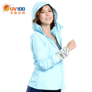 UV100 71041 女士宽松透气防紫外线防晒衣 净水蓝 S