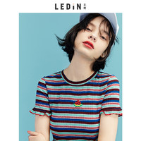 LE'TEEN 乐町 CWDA82202 女士刺绣条纹短袖T恤