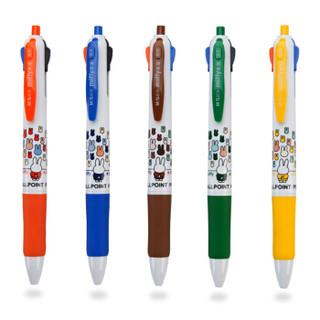 M&G 晨光 MF1006 四色圆珠笔 彩色卡通按动式 0.5mm 4支装