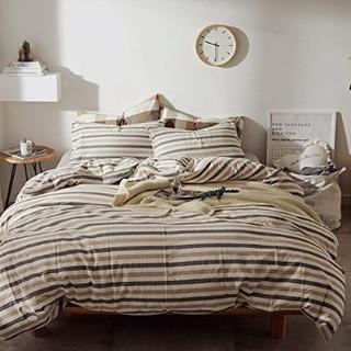 Jeanpop 简璞 色织水洗棉床笠款四件套 1.5m床适用 (卡白彩条)