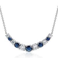 Blue Nile 18K白金 渐变宝石微笑项链