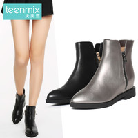 Teenmix 天美意 6A263DZ6 牛皮女士中短靴
