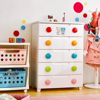 爱丽思IRIS 密闭儿童彩扣5层收纳柜 抽屉柜 整理柜 储物柜 衣柜 MG725白/黄