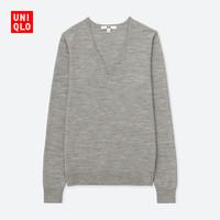 UNIQLO 优衣库  408710 女士纯羊毛针织衫 (烟灰色、S)
