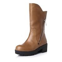 BASTO/百思图冬季专柜同款棕色牛皮女靴TP660DZ5~34/35有货