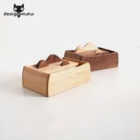 设计猫 Kawoo消逝原木面巾盒 创意手工木制纸巾盒 抽纸盒餐巾盒