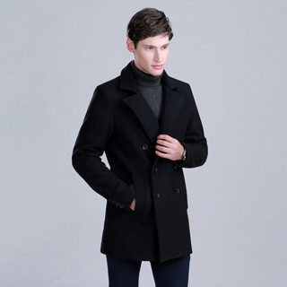 Crocodile 鳄鱼恤 98792806 男士休闲羊毛混纺双排扣大衣
