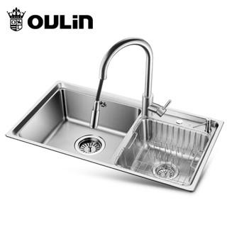 欧琳 水槽双槽J003含龙头 洗菜盆水盆 厨房304不锈钢洗碗盆洗菜池 HT820A配CFL003不锈钢抽拉龙头