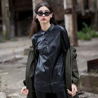 it b+ab女装春夏个性拼接皮革褶皱雪纺长袖衬衫0
