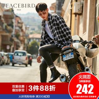 太平鸟男装 黑白格纹韩版潮流青年衬衫外套学生日系ins超火的衬衣