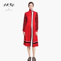 ERDOS 鄂尔多斯 V1822BP098 精纺樽领夹条女套裙