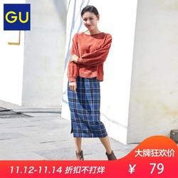 双十二价格,GU女装雪尼尔纱泡泡袖针织衫2018新款秋冬长袖上衣306059极优