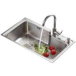 恒洁(HEGII)厨房不锈钢水槽洗菜洗碗单槽配龙头组合148
