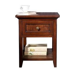 ORIANT 欧瑞简美实木单抽屉镂空收纳储物床头柜 白蜡木胡桃色NW0101床头柜(480*420*590mm)