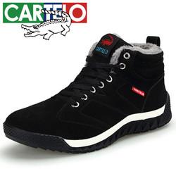 卡帝乐鳄鱼 CARTELO 棉靴加绒保暖中高帮舒适系带户外防滑耐磨休闲男鞋 KDL821 黑色 45