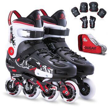 美洲狮专业平花鞋成人轮滑鞋男女动作溜冰鞋旱冰鞋 黑白 青奥会款 42