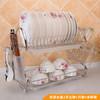 厨房用品双盘沥水碗架 多功能收纳架碗碟菜板砧板置物架 挂水杯款 46元