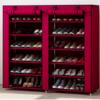 家时光 金属简易鞋柜鞋架 (酒红色 双排12格)