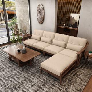 慕尼思丹 北欧新中式全白蜡木沙发