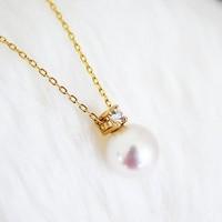 Akoya D0.04ct K18 钻石珍珠项链 7.5-8mm