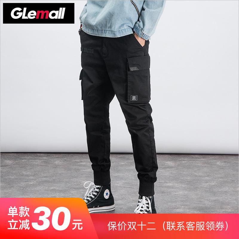 Glemall 哥来买  男士工装锥形束脚弹力个性舒适休闲长裤