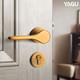亚固轻奢卧室门锁室内房门锁黄古铜家用门把手分体锁简约锁具套装