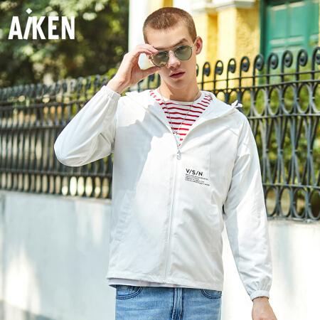 爱肯 Aiken 森马旗下品牌 2018秋冬季   男装茄克外套AK118071202 白色调 XL