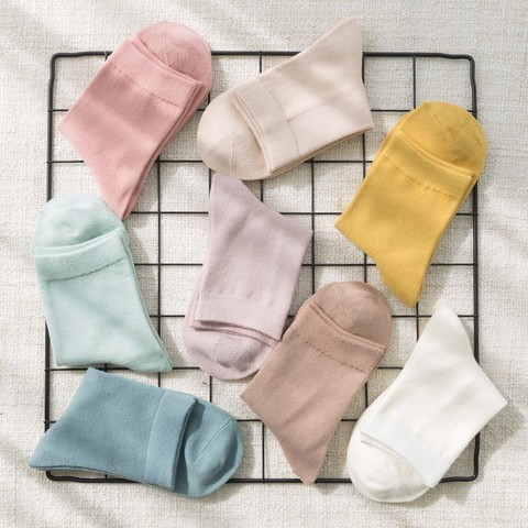 纯棉女士中筒袜子7双装