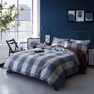 迎馨家纺 全棉床上用品高支高密三件套学生宿舍纯棉床单被罩套件单人1.2米床 维尼小镇 灰
