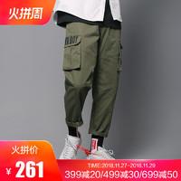 THETHING工装裤男潮牌街头潮流嘻哈多口袋宽松直筒裤子军绿色长裤