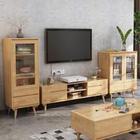 锦巢 实木电视柜小户型地柜简约现代客厅家具组合矮柜储物柜mljzy-06 原木色 1.5米电视柜