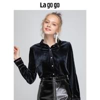 Lagogo/拉谷谷2018新款英伦丝绒衬衫女HCSS51ZA15