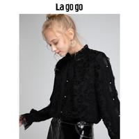 Lagogo/拉谷谷2018新款甜美时尚公主风蕾丝衫女HCSS57ZA11