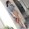 朗悦女装 2018夏季新款条纹衬衫+简约休闲短裤两件套 LWTZ183715 蓝色 S 99元