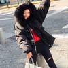 朗悦女装 2017冬季新款宽松休闲棉衣外套韩版毛领棉服保暖加厚外套 LWMF17J208 黑色 S 159元