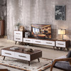酣美 北欧茶几电视柜组合简约现代小户型实木桌几地柜客厅套装家具组合 1250元