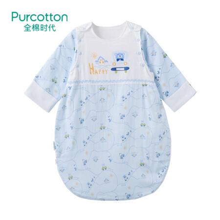 全棉时代   2018婴儿纱布侧开睡袋, 1件装 小熊呦呦车 70x55cm