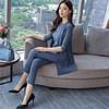 一塘晨2018年秋装新款女背心开衫裤子纯色OL职业套装  S83R0047NA5S  蓝色 S 79.92元
