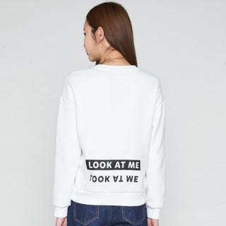 ES 艾格运动 8A032810186 女士纯色拼接圆领卫衣 (本白色、XS)