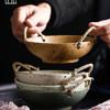 日式手工粗陶网红餐具ins碗复古饭碗家用双耳手提碗简约陶瓷碗盘 29元包邮(需用券)