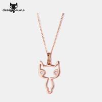 设计猫 MORE首饰 创意猫咪锁骨项链钻石吊坠气质女 送女友项坠