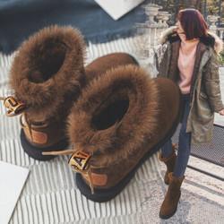 毅雅雪地靴女2018冬长毛内里保暖女靴棉鞋短靴女低跟防滑短筒靴子8188 黑色 37