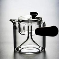 普智 加厚蒸煮两用耐热玻璃茶壶 (升级版木柄煮茶器)
