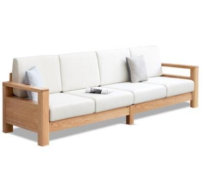源氏木语 Y86H04 小户型实木沙发组合 小四人位 原木色