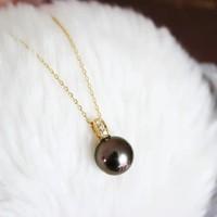 Akoya 黑珍珠钻石项链 K18 9-10mm