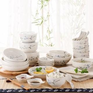 樱之歌日式釉下彩纯手绘雪花釉陶瓷碗碟盘32头餐具套装(微波炉可用) +凑单品