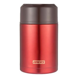 哈尔斯(HAERS)焖烧杯保温便当饭盒子不锈钢保温桶真空提锅焖烧罐1000ML 宫廷红 *2件